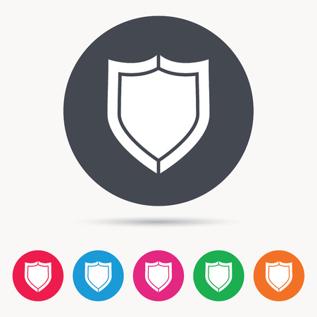 Shield protection icon. Defense equipment symbol. Colored circle buttons with flat web icon. Vector Illustration