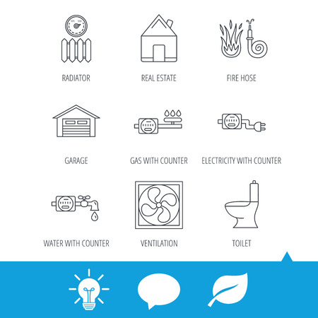 Ventilation, garage and heat radiator icons. Gas, water and electricity counter linear signs. Real estate, toilet and fire hose icons. Light bulb, speech bubble and leaf web icons. Vector Illustration