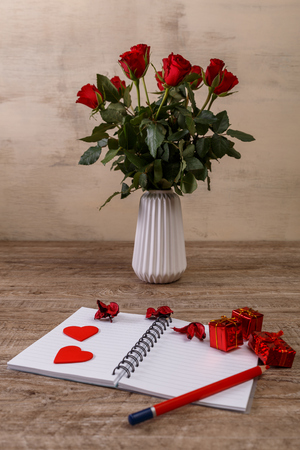 Red Roses With Hearts Gift Boxes And Vase Valentines Day Concept