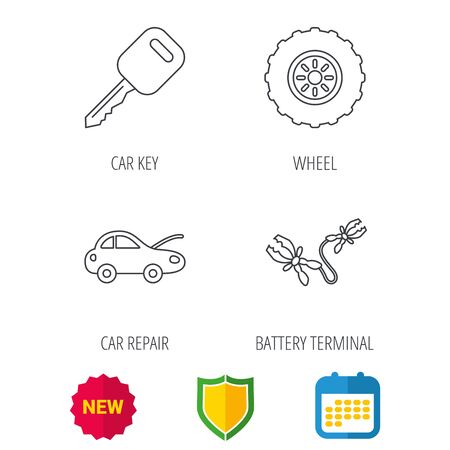 tread: Car key, wheel and repair service icons. Battery terminal linear sign. Shield protection, calendar and new tag web icons. Vector