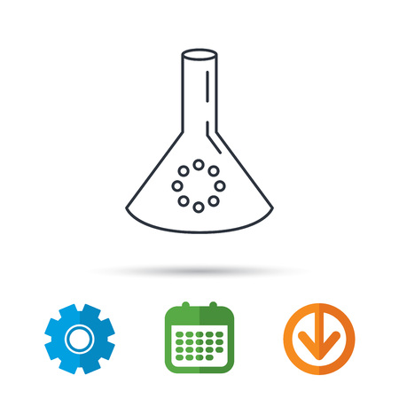 poison arrow: Laboratory bulb or beaker icon. Chemistry sign. Science or pharmaceutical symbol. Calendar, cogwheel and download arrow signs. Colored flat web icons. Vector Illustration