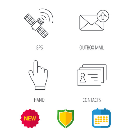 outbox: Hand pointer, contacts and gps satellite icons. Outbox mail linear sign. Shield protection, calendar and new tag web icons. Vector