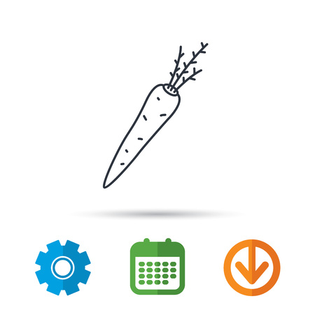Carrot icon. Vegetarian food sign. Natural vegetable symbol. Calendar, cogwheel and download arrow signs. Colored flat web icons. Vector Illustration