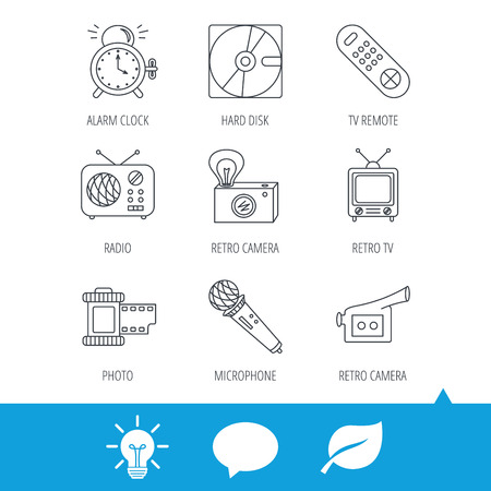clock radio: Microphone, video camera and photo icons. Alarm clock, retro radio and TV remote linear signs. Light bulb, speech bubble and leaf web icons. Vector