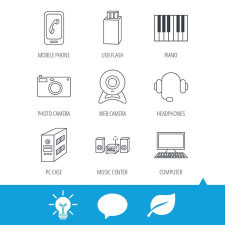 pc case: Photo camera, headphones and Usb flash icons. PC case, computer with monitor and web camera linear signs. Piano icons. Light bulb, speech bubble and leaf web icons. Vector