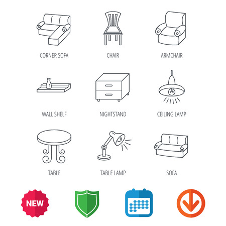 armchair shopping: Corner sofa, table and armchair icons. Chair, ceiling lamp and nightstand linear signs. Wall shelf furniture flat line icons. New tag, shield and calendar web icons. Download arrow. Vector