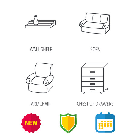 armchair shopping: Sofa, wall shelf and armchair icons. Chest of drawers linear sign. Shield protection, calendar and new tag web icons. Vector