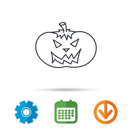 smilling: Halloween pumpkin icon. Scary smile sign. Calendar, cogwheel and download arrow signs. Colored flat web icons. Vector