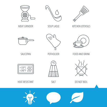 Soup ladle, potholder and kitchen utensils icons. Salt, not boil and saucepan linear signs. Meat grinder, water drop and coffee cup icons. Light bulb, speech bubble and leaf web icons. Vector Illustration