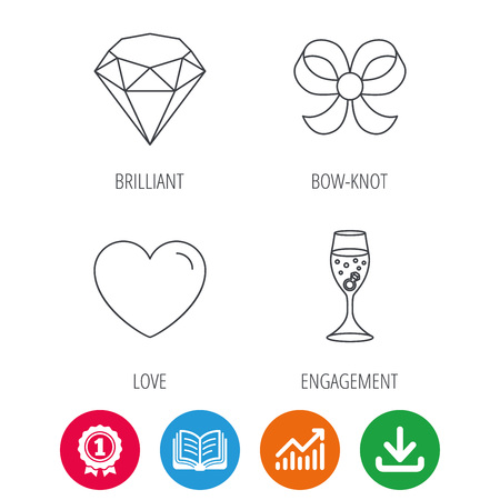 brilliant heart: Love heart, brilliant and engagement ring icons. Bow-knot linear sign. Award medal, growth chart and opened book web icons. Download arrow. Vector