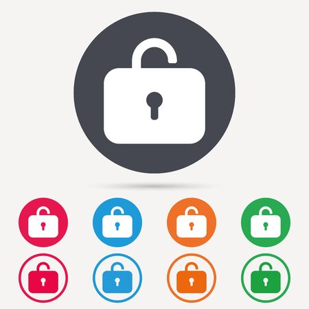 private access: Lock icon. Privacy locker sign. Private access symbol. Round circle buttons. Colored flat web icons. Vector