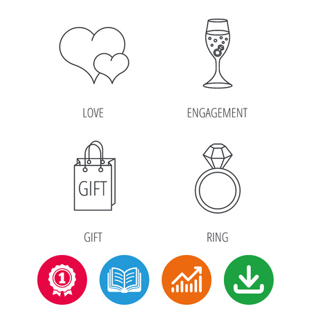 opened bag: Love heart, gift bag and wedding ring icons. Engagement linear sign. Award medal, growth chart and opened book web icons. Download arrow. Vector