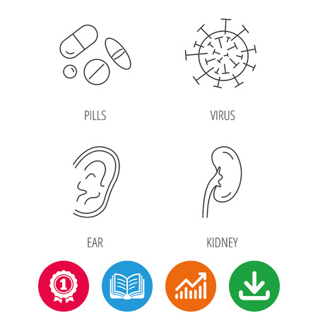 analyses: Medical pills, virus and ear icons. Kidney linear sign. Award medal, growth chart and opened book web icons. Download arrow. Vector