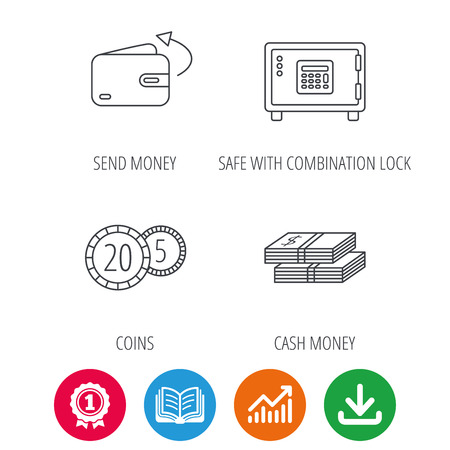 cash book: Coins, cash money and wallet icons. Safe box, send money linear signs. Award medal, growth chart and opened book web icons. Download arrow. Vector Illustration