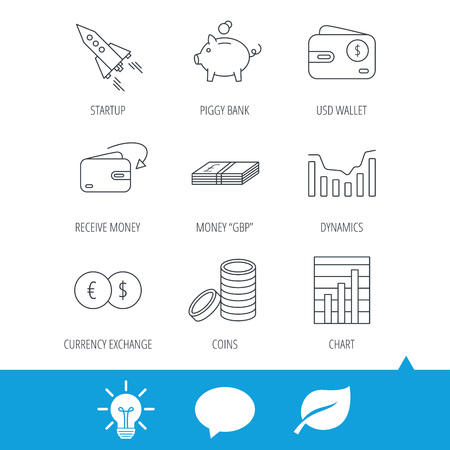 deceleration: Piggy bank, cash money and startup rocket icons. Wallet, currency exchange and dollar usd linear signs. Chart, coins and dynamics icons. Light bulb, speech bubble and leaf web icons. Vector Illustration