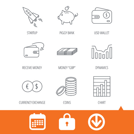 deceleration: Piggy bank, cash money and startup rocket icons. Wallet, currency exchange and dollar usd linear signs. Chart, coins and dynamics icons. Download arrow, locker and calendar web icons. Vector Illustration