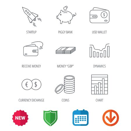 deceleration: Piggy bank, cash money and startup rocket icons. Wallet, currency exchange and dollar usd linear signs. Chart, coins and dynamics icons. New tag, shield and calendar web icons. Download arrow. Vector Illustration