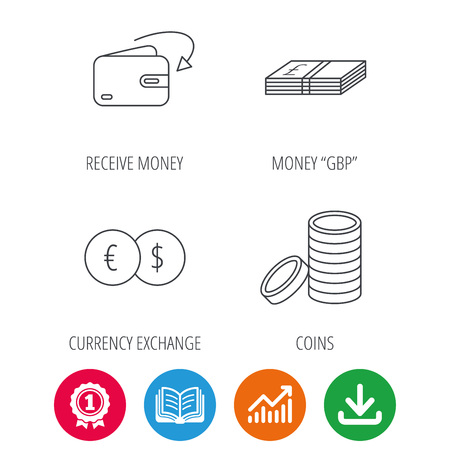 cash book: Currency exchange, cash money and coins icons. Receive money linear sign. Award medal, growth chart and opened book web icons. Download arrow. Vector Illustration
