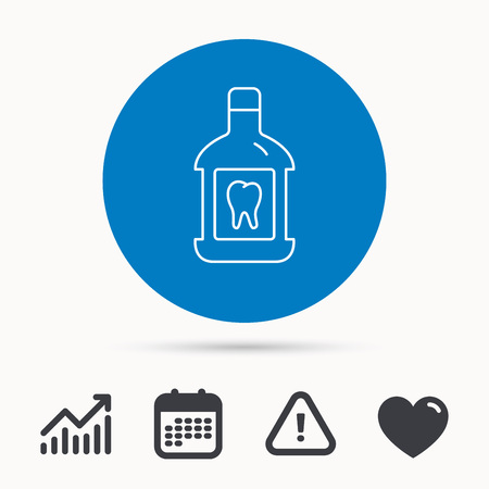 antibacterial: Mouthwash icon. Oral antibacterial liquid sign. Calendar, attention sign and growth chart. Button with web icon. Vector