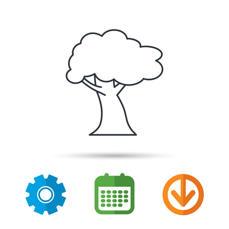 Oak tree icon. Forest wood sign. Nature environment symbol. Calendar, cogwheel and download arrow signs. Colored flat web icons. Vector