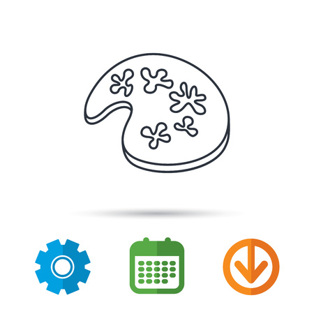 Painting icon. Artistic tool sign. Calendar, cogwheel and download arrow signs. Colored flat web icons. Vector