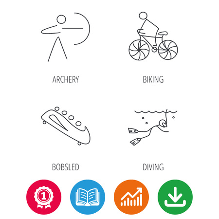 bobsled: Diving, biking and archery icons. Bobsled linear sign. Award medal, growth chart and opened book web icons. Download arrow. Vector