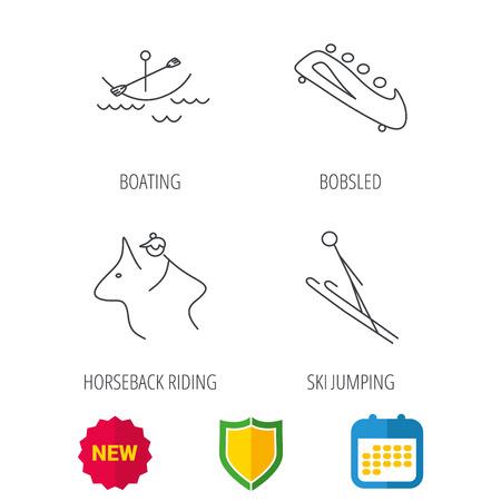 Boating, horseback riding and bobsled icons. Ski jumping linear sign. Shield protection, calendar and new tag web icons. Vector Illustration