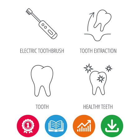 Tooth extraction, electric toothbrush icons. Healthy teeth linear sign. Award medal, growth chart and opened book web icons. Download arrow. Vector