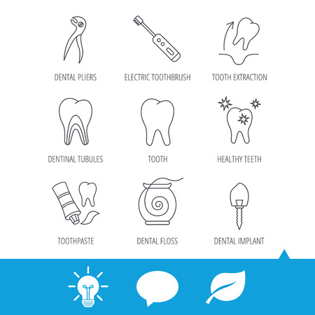 Tooth extraction, electric toothbrush icons. Dental implant, floss and dentinal tubules linear signs. Toothpaste icon. Light bulb, speech bubble and leaf web icons. Vector Illustration