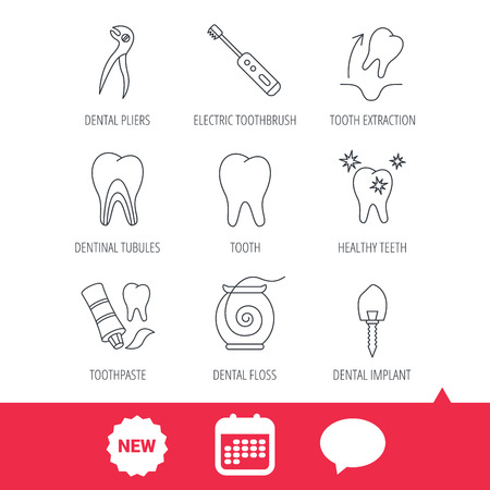 Tooth extraction, electric toothbrush icons. Dental implant, floss and dentinal tubules linear signs. Toothpaste icon. New tag, speech bubble and calendar web icons. Vector Illustration