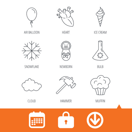 Newborn, heart and lab bulb icons. Ice cream, muffin and air balloon linear signs. Cloud and snowflake flat line icons. Download arrow, locker and calendar web icons. Vector