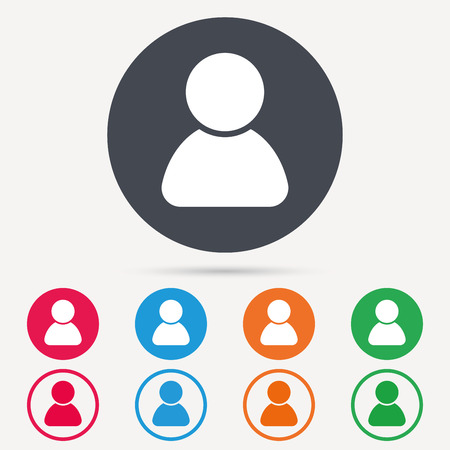 User icon. Human person symbol. Avatar login sign. Round circle buttons. Colored flat web icons. Vector