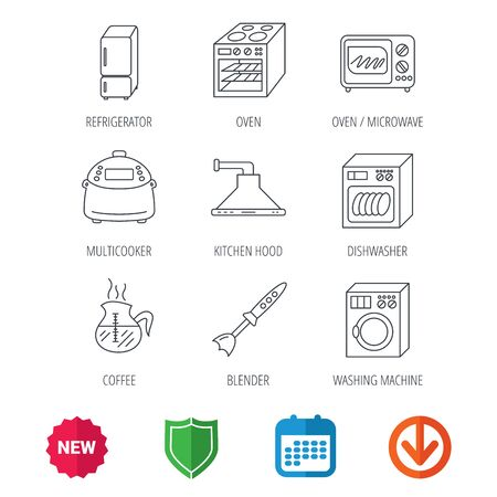 new arrow: Microwave oven, washing machine and blender icons. Refrigerator fridge, dishwasher and multicooker linear signs. Coffee icon. New tag, shield and calendar web icons. Download arrow. Vector