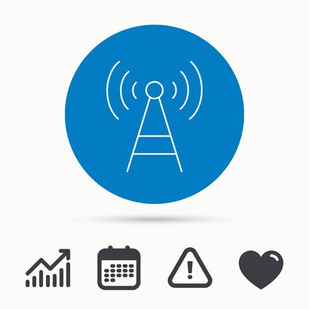 tv tower: Telecommunication tower icon. Signal sign. Wireless wifi network symbol. Calendar, attention sign and growth chart. Button with web icon. Vector