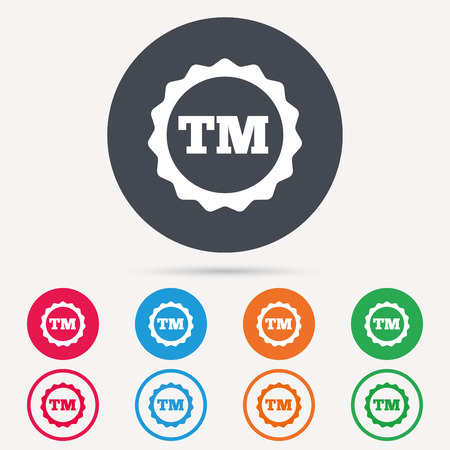 tm: Registered TM trademark icon. Intellectual work protection symbol. Round circle buttons. Colored flat web icons. Vector