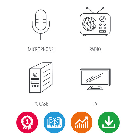 pc case: TV, retro radio and microphone icons. PC case linear sign. Award medal, growth chart and opened book web icons. Download arrow. Vector Illustration