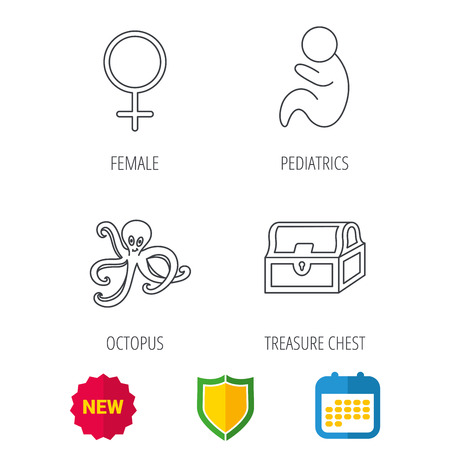 paediatrics: Female, treasure chest and pediatrics icons. Octopus linear sign. Shield protection, calendar and new tag web icons. Vector Illustration