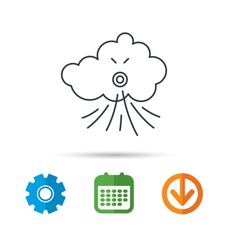 tempest: Wind icon. Cloud with storm sign. Strong wind or tempest symbol. Calendar, cogwheel and download arrow signs. Colored flat web icons. Vector