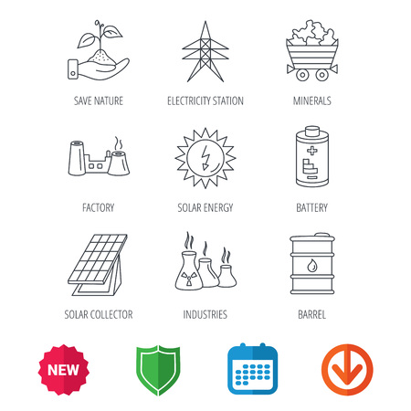 poison arrow: Solar collector energy, battery and oil barrel icons. Minerals, electricity station and factory linear signs. Industries, save nature icons. New tag, shield and calendar web icons. Download arrow
