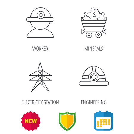 searcher: Worker, minerals and engineering helm icons. Electricity station linear sign. Shield protection, calendar and new tag web icons. Vector