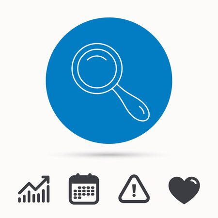 Search icon. Magnifying glass sign. Zoom symbol. Calendar, attention sign and growth chart. Button with web icon. Vector