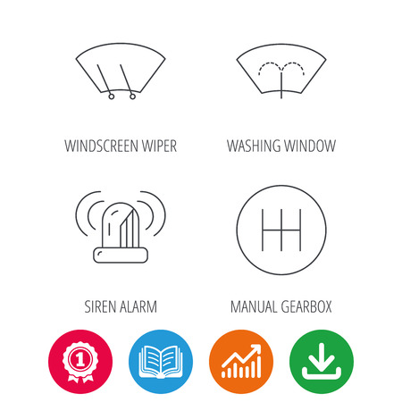 Manual gearbox, siren alarm and washing window icons. Windscreen wiper linear sign. Award medal, growth chart and opened book web icons. Download arrow. Vector