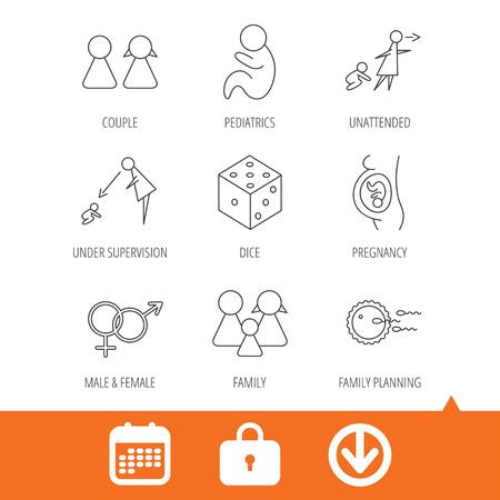 妊娠、小児および家族計画アイコン。赤ちゃん子供線形標識及び監理、無人。サイコロ、男性と女性のアイコン。矢印、ロッカーおよびカレンダー web アイコンをダウンロードします。ベクトル 写真素材 - 72894334