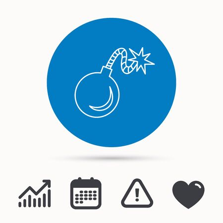 love detonate: Retro bomb icon. Boom explode sign. Calendar, attention sign and growth chart. Button with web icon. Vector Illustration