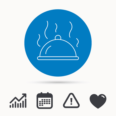 Restaurant cloche platter icon. Hot food sign. Calendar, attention sign and growth chart. Button with web icon. Vector