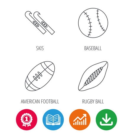 american downloads: Sport fitness, rugby ball and baseball icons. American footbal, skis linear signs. Award medal, growth chart and opened book web icons. Download arrow. Vector Illustration