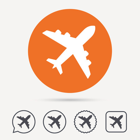 Plane icon. Flight transport symbol. Circle, speech bubble and star buttons. Flat web icons. Vector