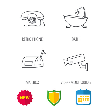 Retro phone, video camera and mailbox icons. Bath linear sign. Shield protection, calendar and new tag web icons. Vector