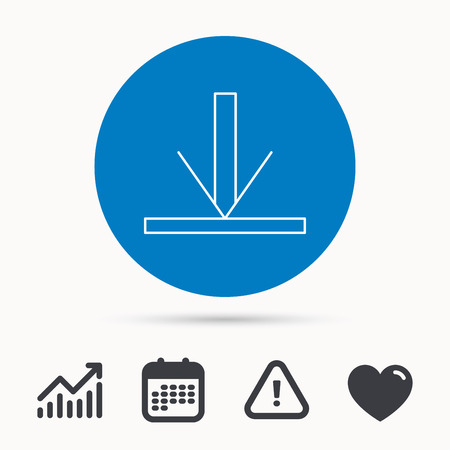 Download icon. Down arrow sign. Internet load symbol. Calendar, attention sign and growth chart. Button with web icon. Vector Illustration