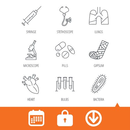 bacteria microscope: Broken foot, lungs and syringe icons. Stethoscope, pills and microscope linear signs. Bacteria, heart and lab bulbs flat line icons. Download arrow, locker and calendar web icons. Vector Illustration